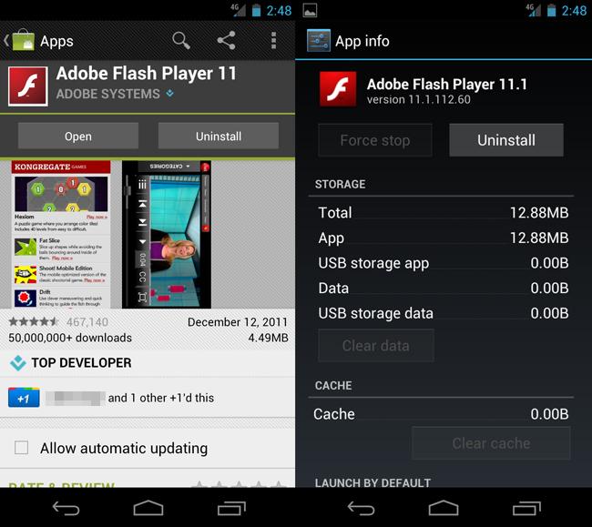 Adobe Flash para Android Ice Cream Sandwich
