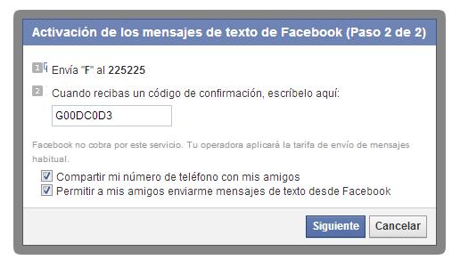 Confirmación de Facebook