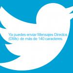 Twitter elimina el límite de 140 caracteres en los mensajes directos