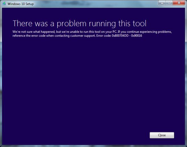 Error de instalacion Windows 10