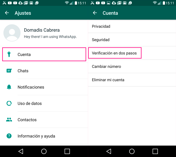 whatsapp android ajustes