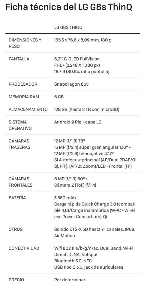 Especificaciones LG G8s