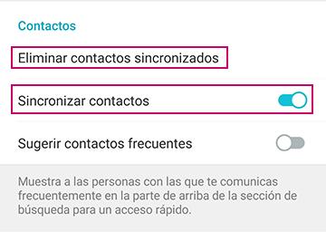 Sincronizar contactos